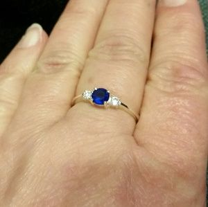 .925 Silver CZ in White & Sapphire Blue Ring 9
